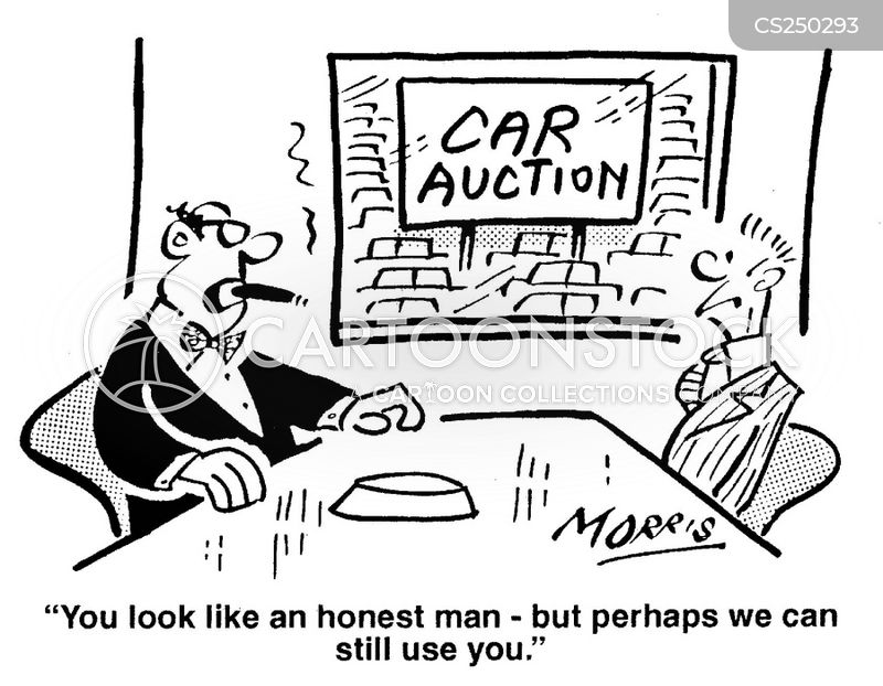 car auctioneer cartoon
