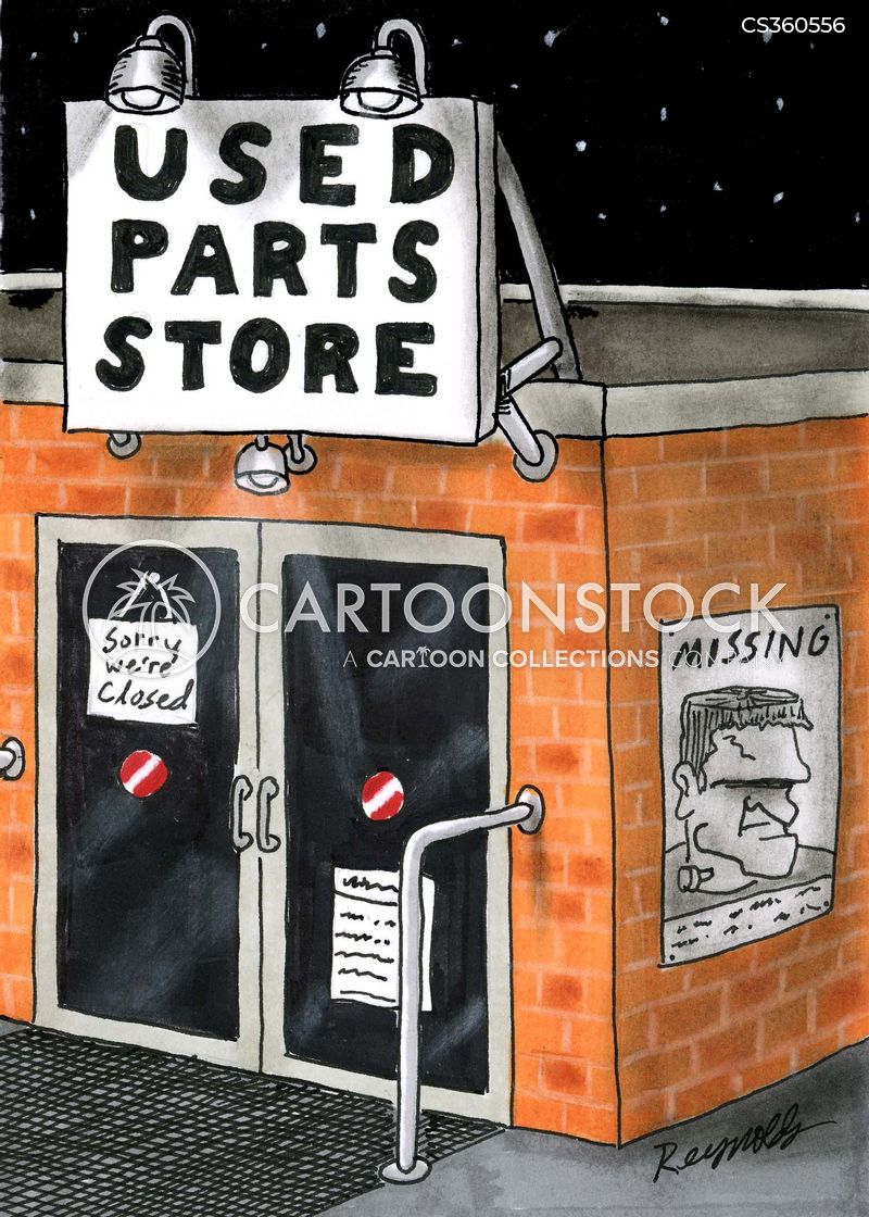 used parts shop cartoon