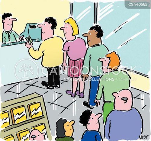 queuing up cartoon