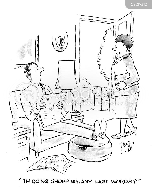 women shopping cartoon