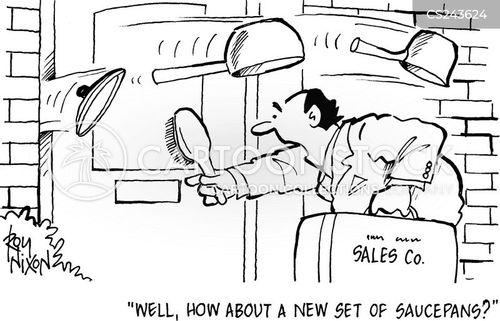 door to door selling cartoon