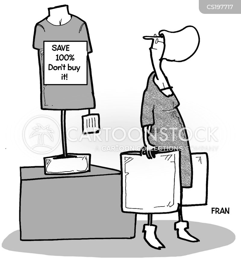 shopping addictions cartoon