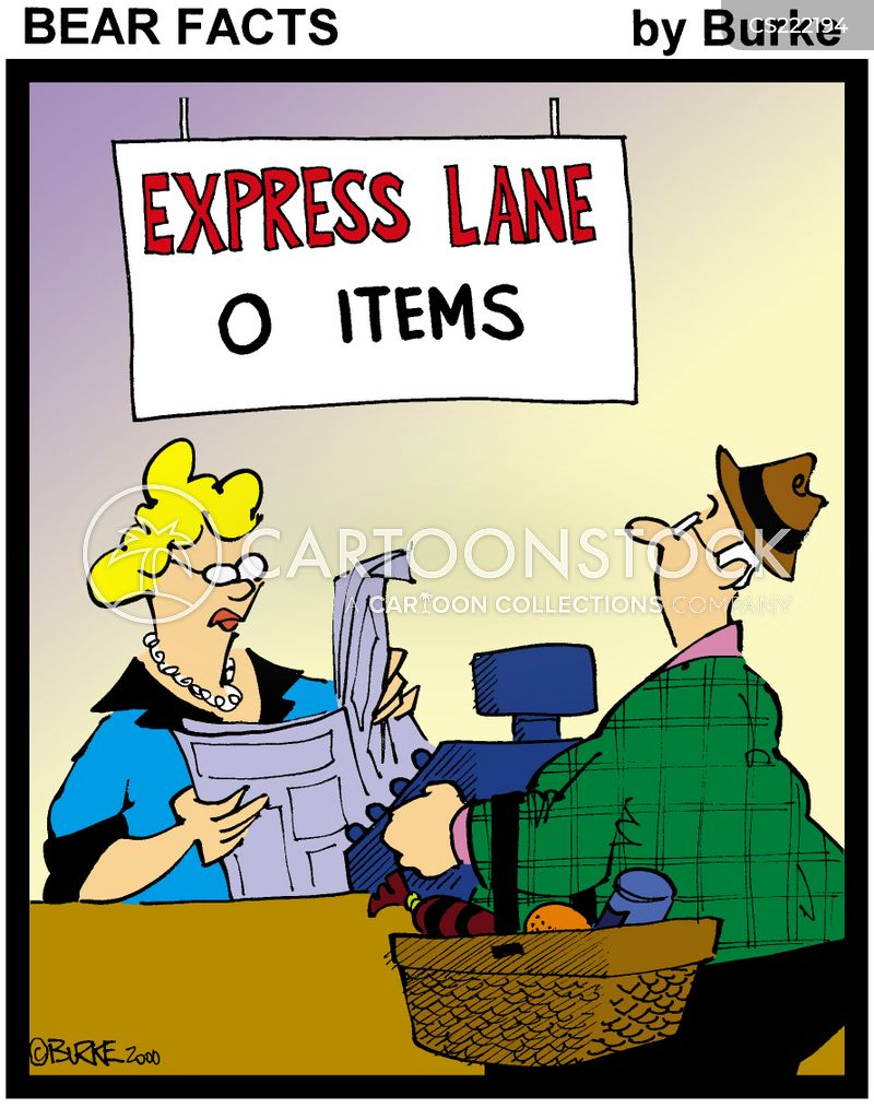 express check out cartoon