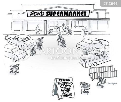 shopping carts cartoon