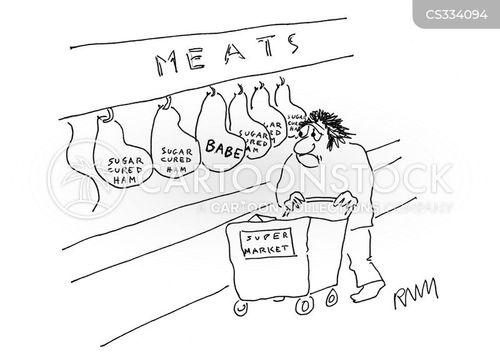 buying meat cartoon