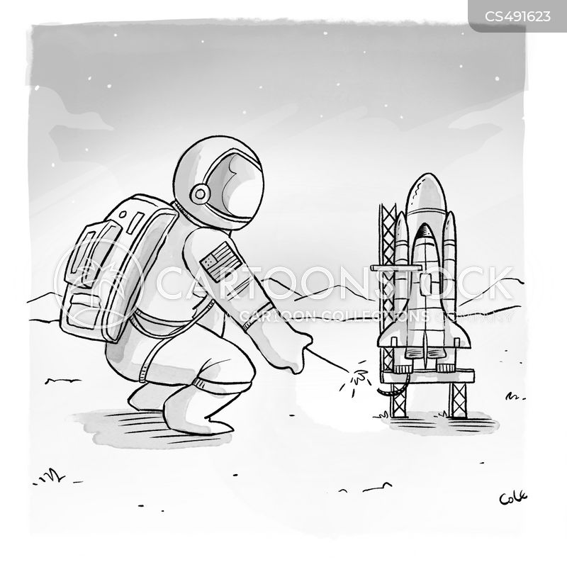 space launches cartoon