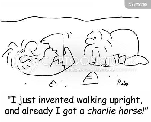 walking upright cartoon