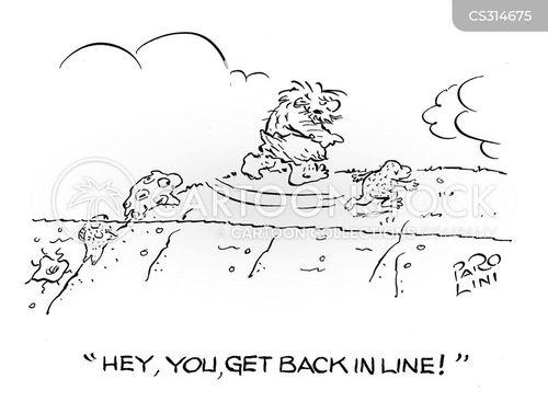 queue jumping cartoon