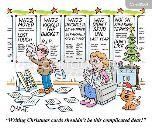christmas card list cartoon