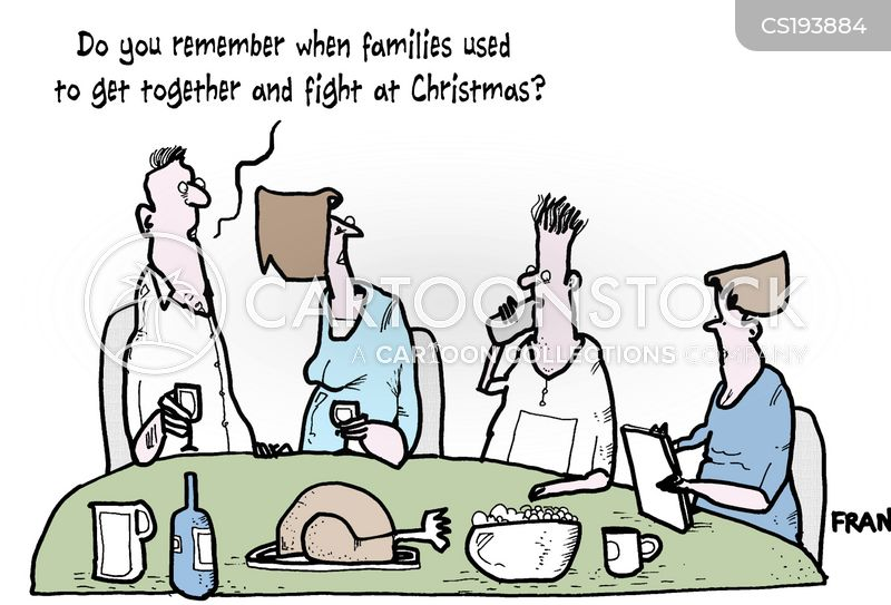 family fights cartoon