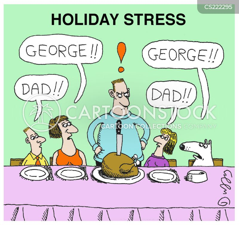 holiday stress cartoon