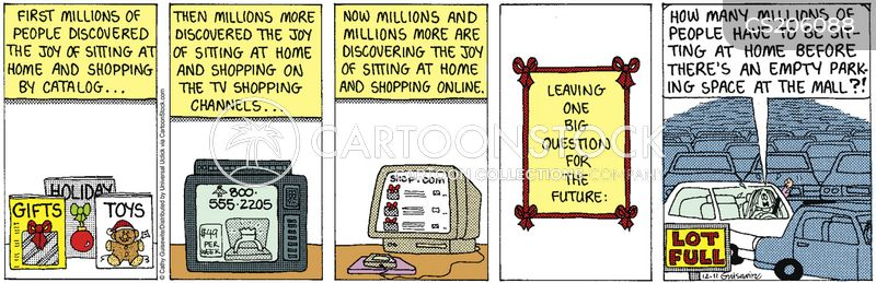 shopping from home cartoon