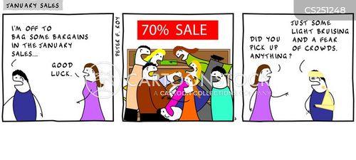 new year sales cartoon