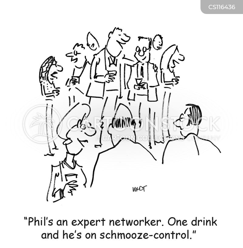 schmoozing cartoon