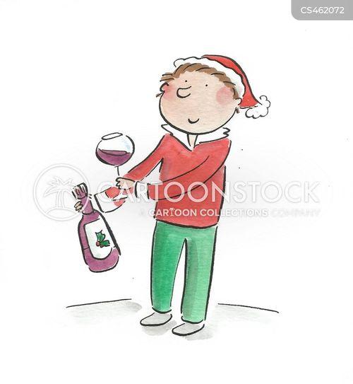 xmas wine cartoon