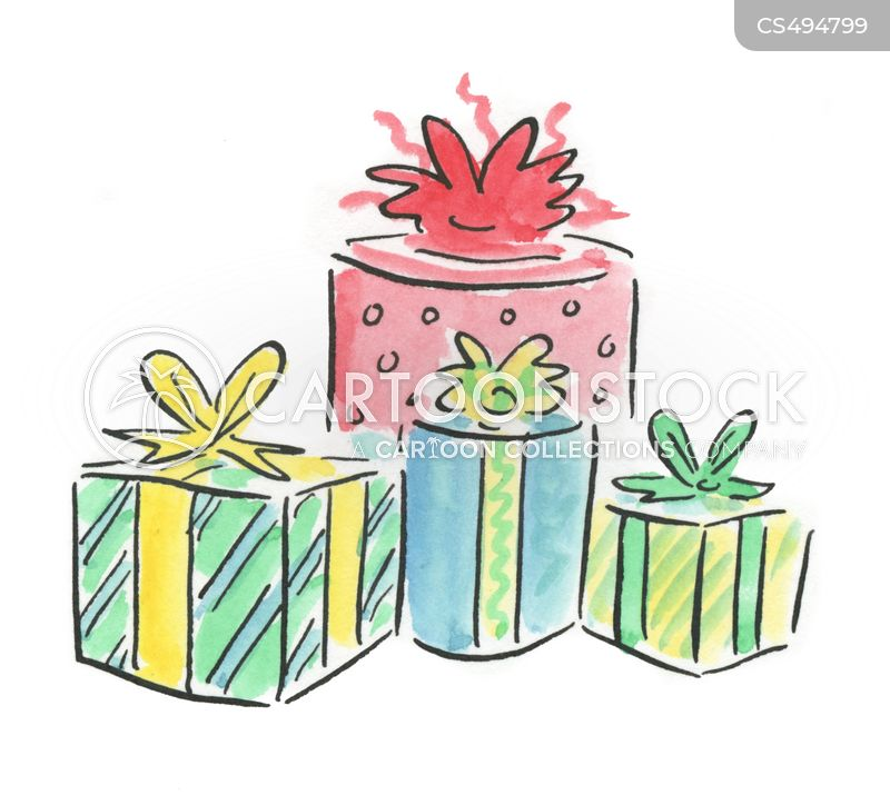 gift wrapped cartoon