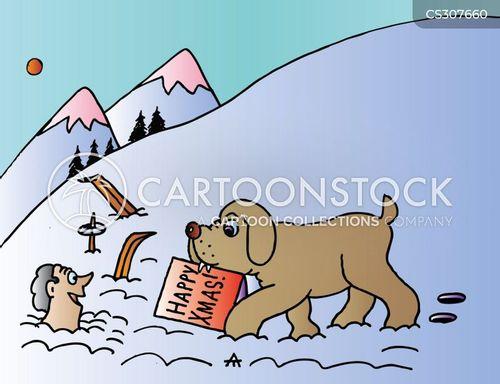 skiing vacation cartoon