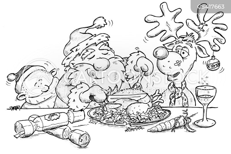 christmas lunch cartoon