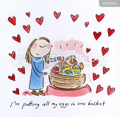 eggs in one basket cartoon