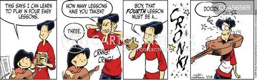 learning guitar cartoon
