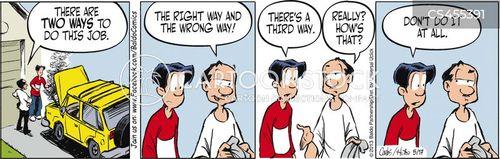 wrong way cartoon
