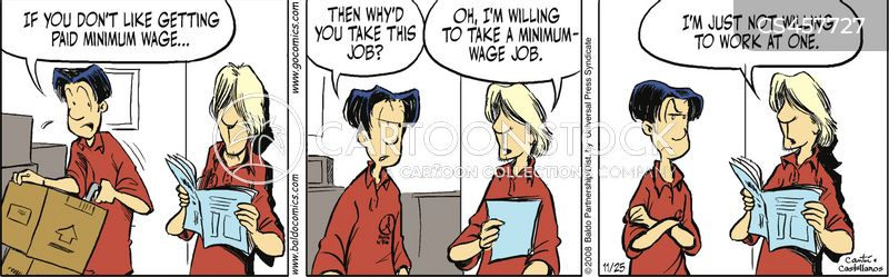 minimum wage job cartoon
