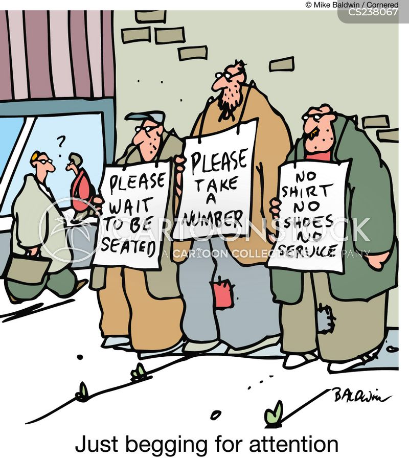 begging for attention cartoon