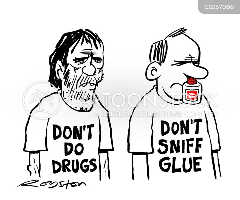 glue sniffing cartoon