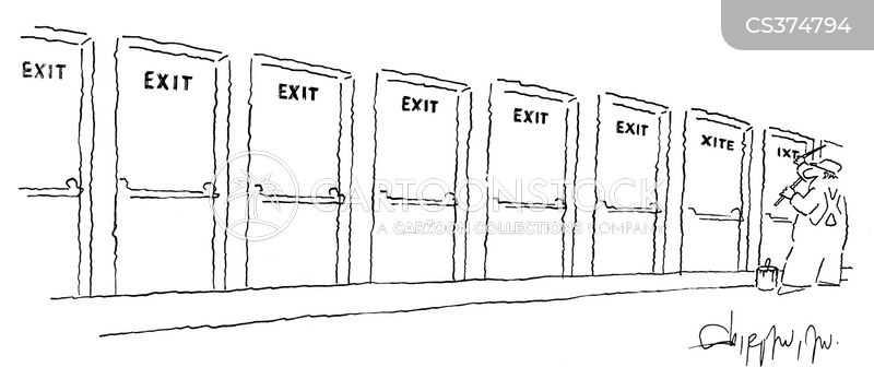 fire exit cartoon