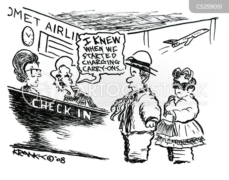 checked in cartoon