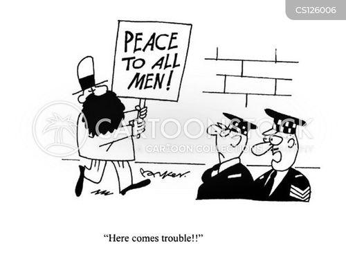 protestors cartoon