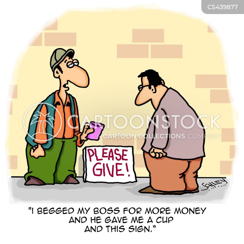 begging cup cartoon