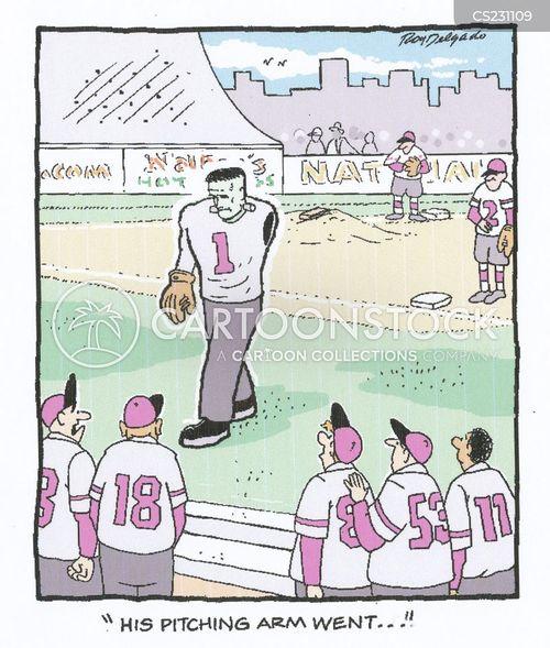pitching arms cartoon