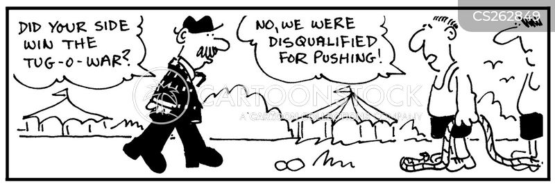 tug of war cartoon