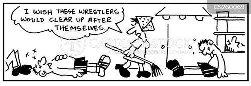cleaning ladies cartoon