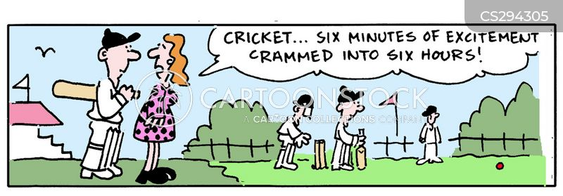 cricket match cartoon