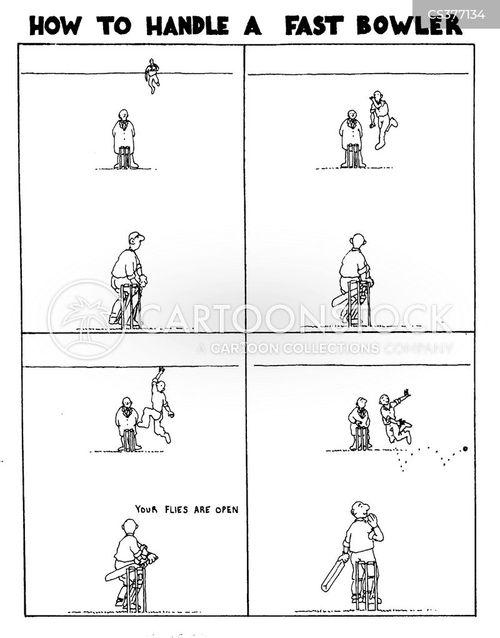 fast bowler cartoon