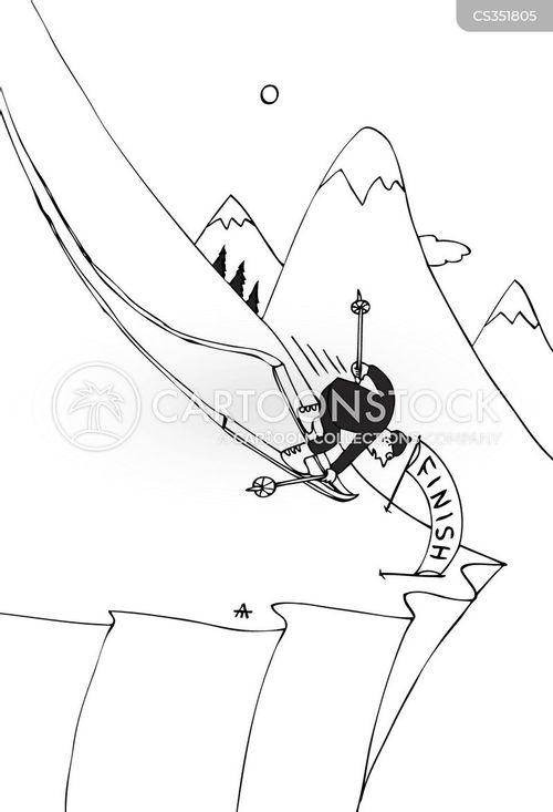 skiing resorts cartoon