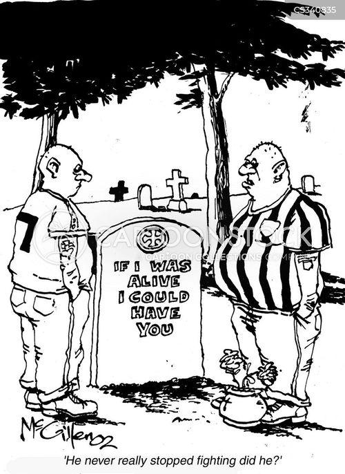football violence cartoon