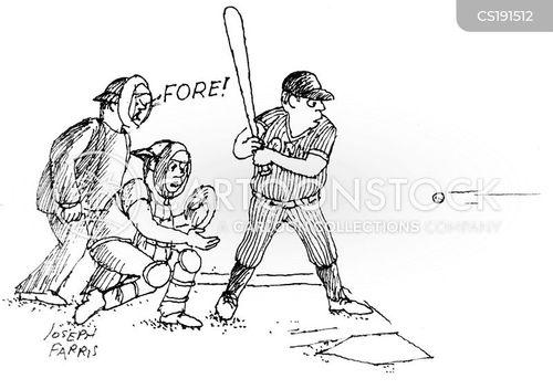 playing baseball cartoon