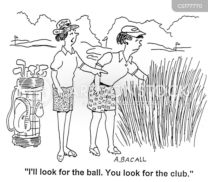 playing golf cartoon