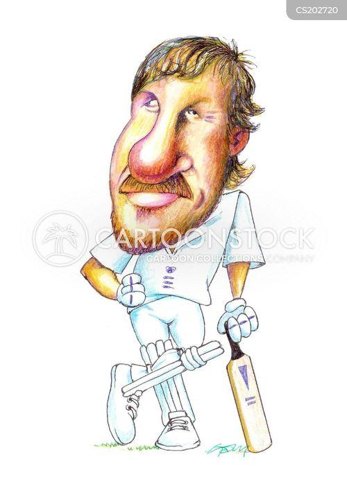 cricketer cartoon