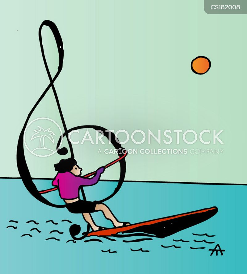 wind surfing cartoon