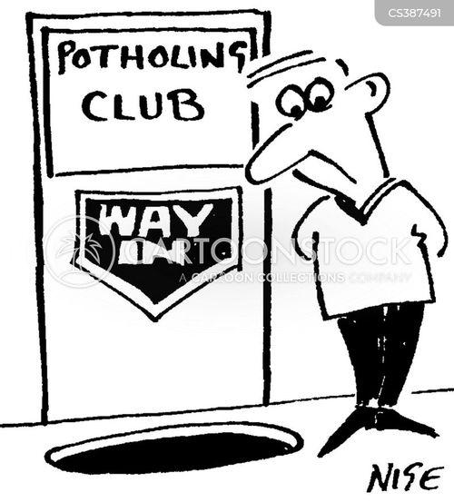 potholing cartoon
