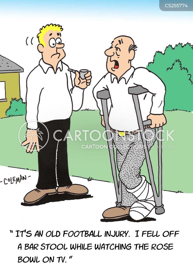 Football Injuries Cartoons and Comics funny pictures  : sport rosebowl footballinjuries sportsinjuries footballfans crutches rcln432low from www.cartoonstock.com size 400 x 562 jpeg 57kB