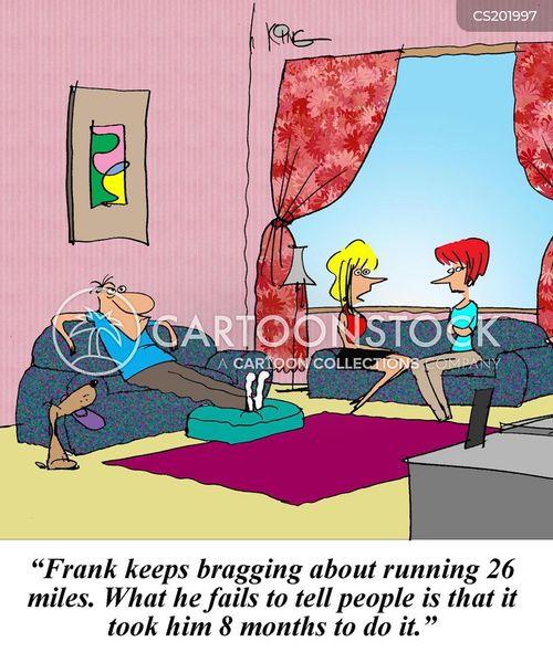marathon runners cartoon