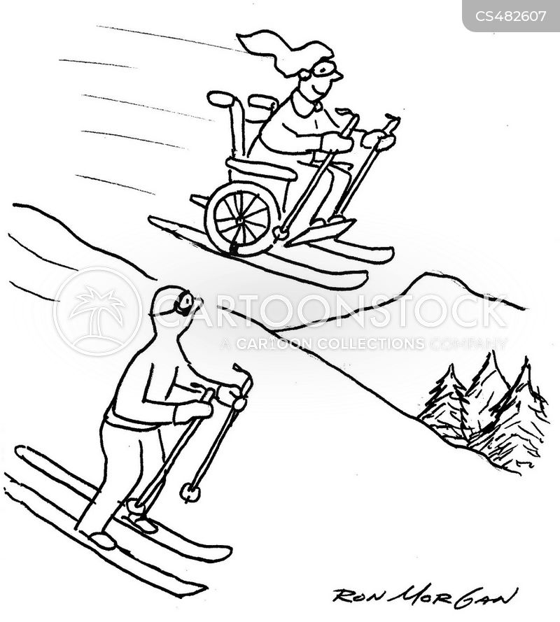 skiing trips cartoon