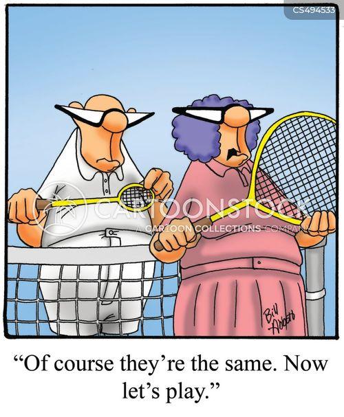 tennis playing cartoon