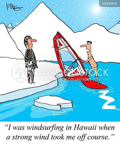wind surfing cartoon