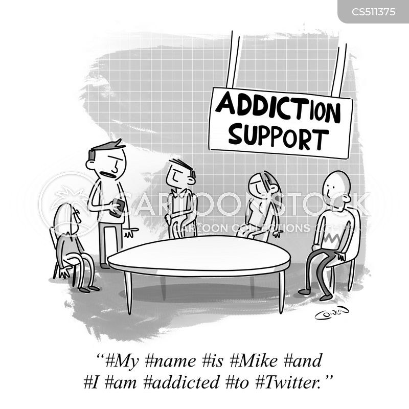social media addiction cartoon